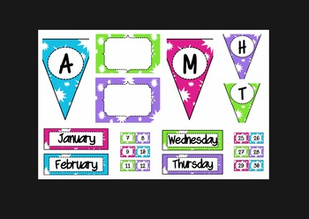 Starburst Bundle (lunch, calendar, subject pennants, word wall letters,and more)