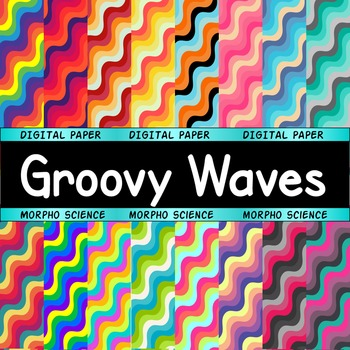 Groovy Waves - 20 Digital Papers {retro, 70s theme}