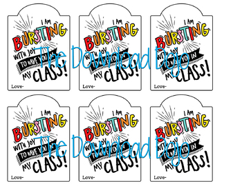 Starburst Handout, First Day of School Gift, I am Bursting, Instant Download