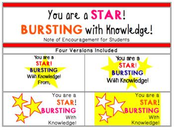 Starburst Note - Star Bursting with Knowledge (Encouragement)