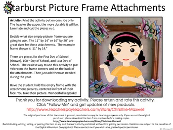 Starburst Picture Frame Attachments First Day, 100th Day, and Last Day Of School