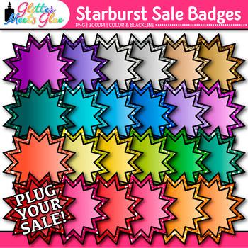 Starburst Sale Frame Clip Art {Rainbow Glitter Labels for Worksheets, Resources}