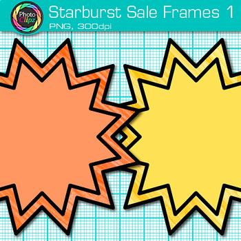 Starburst Sale Frame Clip Art {Rainbow Labels for Worksheets} 1
