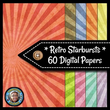 Starbursts - 60 Retro Digital Papers {Commercial & Personal Use}