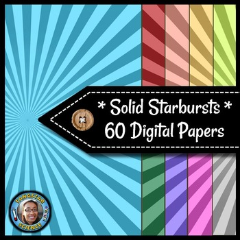 Starbursts - 60 Solid Digital Papers {Commercial & Personal Use}