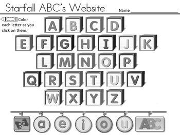 Starfall ABC's Website Tracker - BLACK AND WHITE