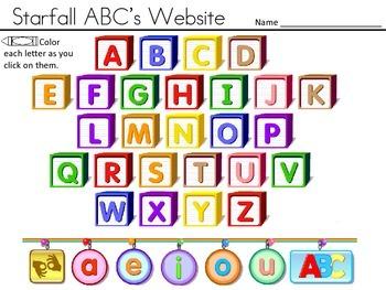 Starfall ABC's Website Tracker - COLOR