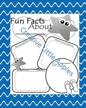 {Sea Star} All About Me!! Super Cute!! Black&White Plus Color Sheets!