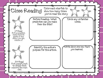 Starfish Close Reading and Activity Pack