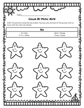 Starfish Color By Music Note Rhythm Coloring - Half Notes
