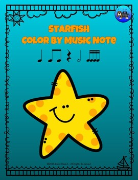 Starfish Color By Music Note Rhythm Coloring - Sixteenth Notes