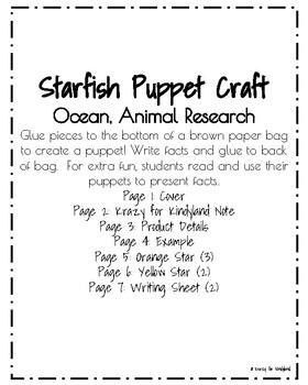 Starfish Craft: Puppet (Ocean, Animal Research)
