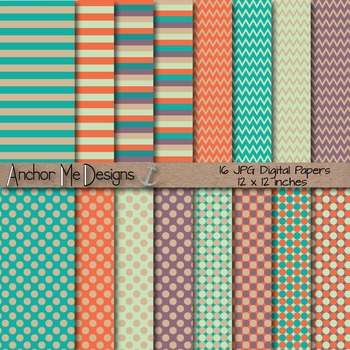 Starfish Delight Teal & Salmon Chevron, Polka Dot & Striped Paper Pack