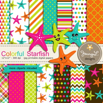 Starfish Digital Paper and clipart
