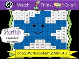 Starfish Expanded Notation - Watch, Think, Color! CCSS.2.NBT.A.1