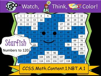 Starfish Hundreds Chart to 120 - Watch, Think, Color! CCSS.1.NBT.A.1