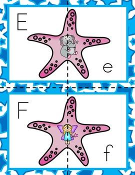 Starfish Letter Match and Sound Literacy Center for Preschool, PreK & K