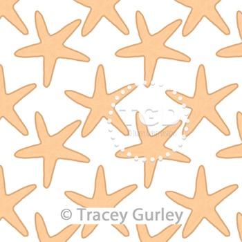 Starfish Pattern Repeat on White digital paper Printable Tracey Gurley Designs
