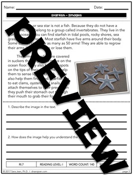 Starfish • Reading Comprehension Passages and Questions • RL I & II