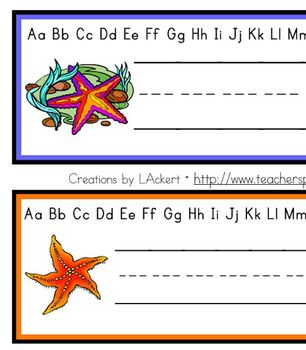Starfish (Sea Life) Desk / Name / Cubbie Tags