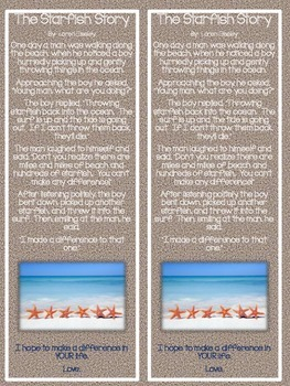Starfish Story Poem & Welcome Gift for Students **Beach Theme**
