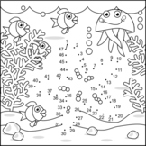 Starfish and Underwater Life Connect the Dots and Coloring Page
