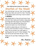 Starfish of the Week Parent Letter