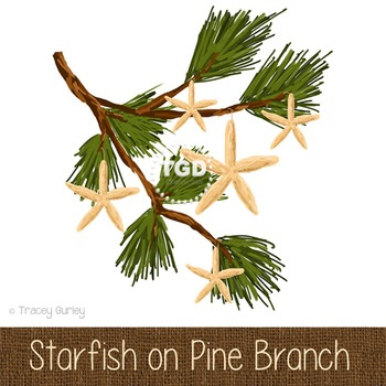 Starfish on Pine Branch, holiday clip art Printable Tracey Gurley Designs