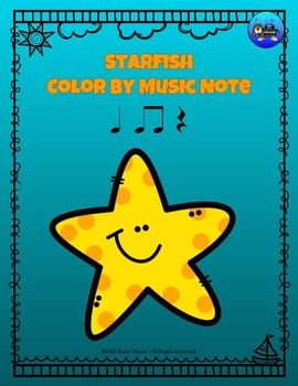 Starfish Color By Music Note Rhythm Coloring - Quarter Note/Rest, Eighth Notes