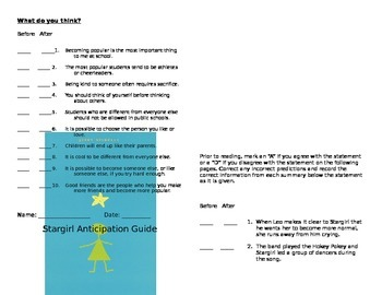 Stargirl Anticipation Guide