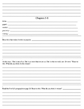 Stargirl Comprehension Response Journal with Vocabulary Jerry Spinelli