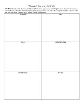 Stargirl Novel Study Packet