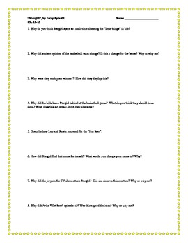 """""""Stargirl"""", by J. Spinelli, Comprehension Questions"""