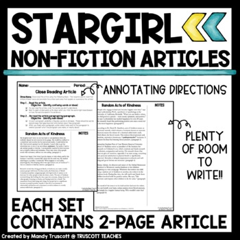 Stargirl by Jerry Spinelli Non-Fiction Supplement: Close Reading Articles