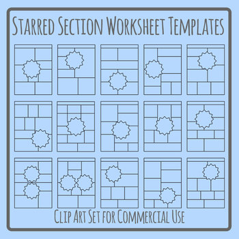 Starred Section Worksheet Templates Clip Art Set Commercial Use