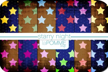 Starry Night Bright Star Patterned Digital Paper Pack