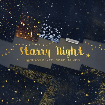 Starry Night Digital Paper Star Night Sky Galaxy