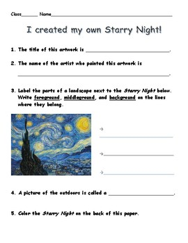 Starry Night Landscape worksheet