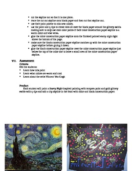 Starry Night Lesson Plan