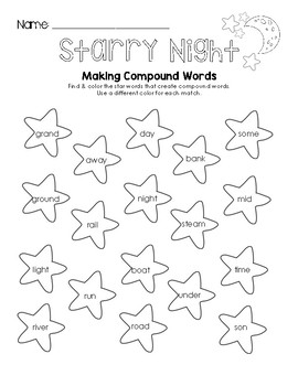 Starry Night - Making Compound Words Worksheet