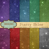 Starry Night Sky Digital Paper Pack - Celestial Glitter Backgrounds
