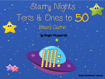 Place Value Tens and Ones to 50 Starry Night Board Game