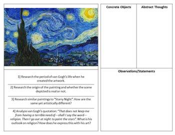Starry Night by Vincent van Gogh Art and Literature Analysis Resources