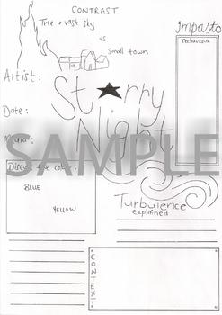 Starry Night by Vincent van Gogh Artwork Analysis Worksheet
