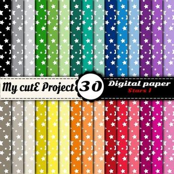 "Stars 1 - DIGITAL PAPER - Instant Download - Scrapbooking - A4 & 12x12"""