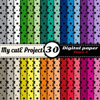 "Stars 2 - DIGITAL PAPER - Instant Download - Scrapbooking - A4 & 12x12"""