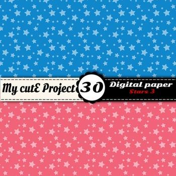 "Stars 3 - DIGITAL PAPER - Instant Download - Scrapbooking - A4 & 12x12"""