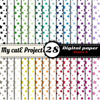 "Stars 4 - DIGITAL PAPER - Instant Download - Scrapbooking - A4 & 12x12"""