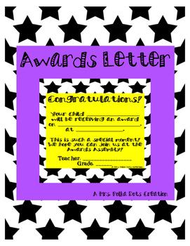 Star Awards Letter for Parents