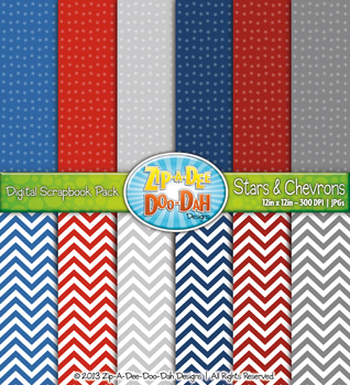 {FREE} Stars & Chevrons Digital Scrapbook Pack — July 4th